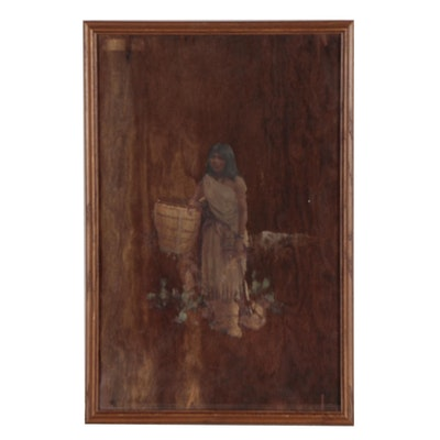 Oil Painting on Bark of Native American Woman