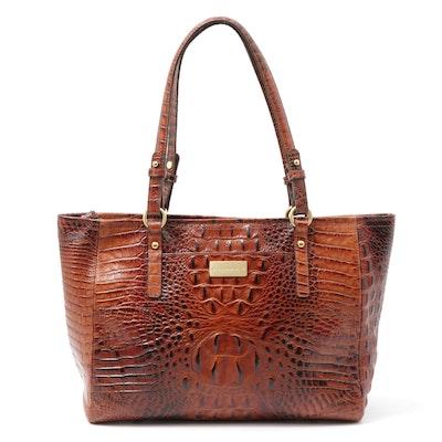 Brahmin Crocodile Embossed Leather Shoulder Bag