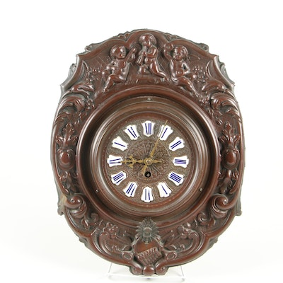 French Wall Clock with Italianate Decoration, Antique