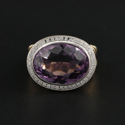 14K Yellow Gold 10.13 CT Amethyst and Diamond Ring with White Gold Accents