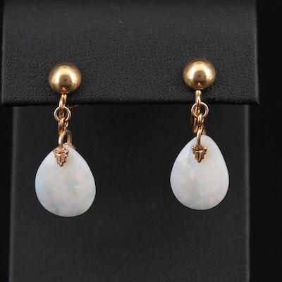Opal Screw Back Drop Earrings