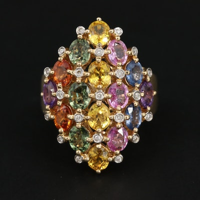 14K Yellow Gold Fancy Sapphire and Diamond Ring