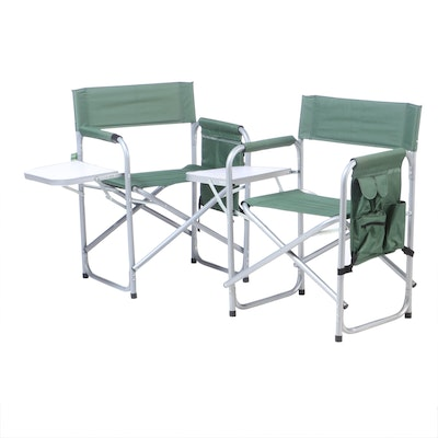 Vintage Canvas Folding Camping Chairs with Drop Down Side Table