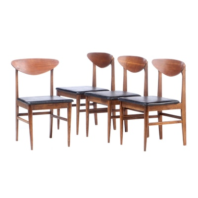 Mid Century Modern Walnut Vinyl Upholstered Side Chairs, Mid-20th Century