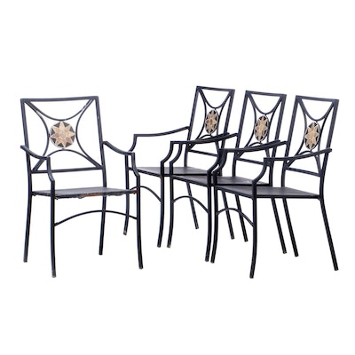 Tile Back Metal Outdoor Patio Arm Chairs, Contemporary