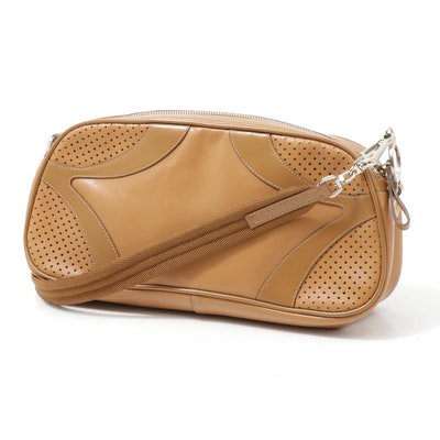 Prada Leather Shoulder Bag in Camel with Pierced Leather
