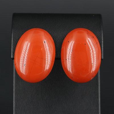 Oval Jasper Drop Earrings
