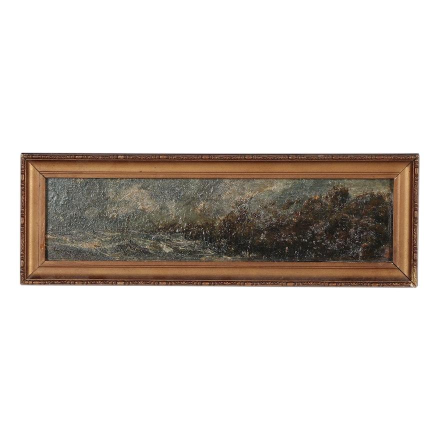 Miniature Oil Painting of Coastal Scene