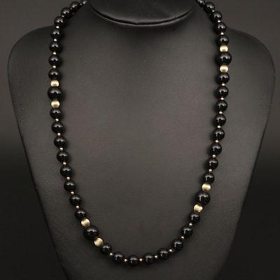 Black Onyx Endless Beaded Necklace