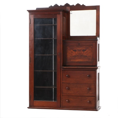 Victorian Birch with Mahogany Finish Bookcase Secretary, Late 19th Century