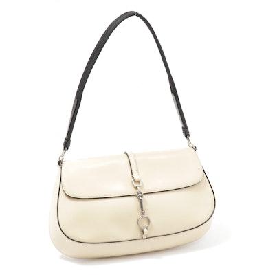 Prada Beige Patent Leather Front Flap Shoulder Bag Trimmed in Black