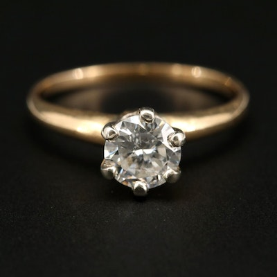 14K Yellow Gold 0.70 CT Diamond Solitaire Ring
