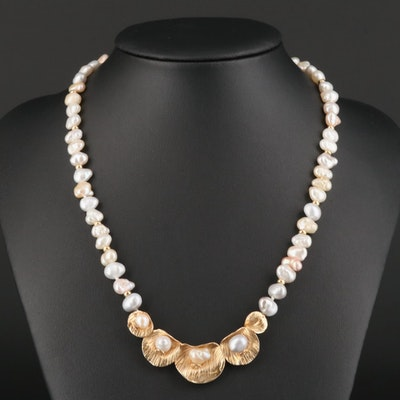 14K Yellow Gold and Cultured Pearl Necklace