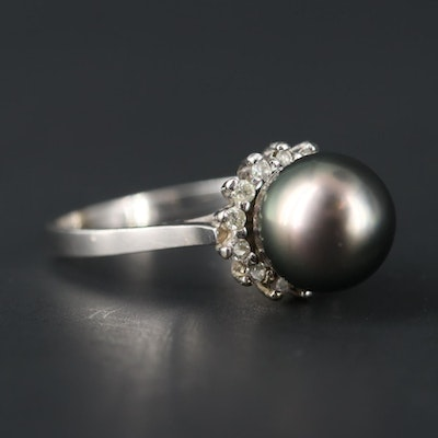 14K White Gold Cultured Pearl and 0.20 CTW Diamond Ring