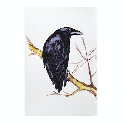 deSanto Watercolor Painting of a Raven