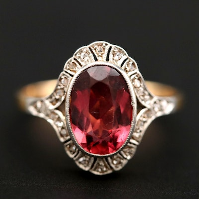 14K Yellow Gold Tourmaline and Diamond Ring With Platinum Accents