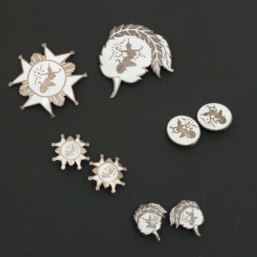 Vintage Thai Nielloware Sterling Silver Assorted Jewelry