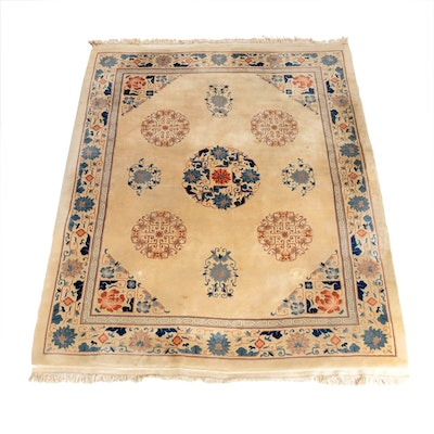 8'0 x10'10 Hand-Knotted Chinese Carved Floral Wool Rug