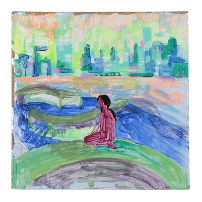 Abstract Acrylic Painting of Figure in Landscape