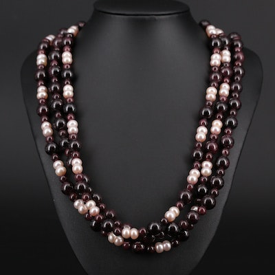 Garnet and Cultured Pearl Triple Strand Bead Necklace With Sterling Findings