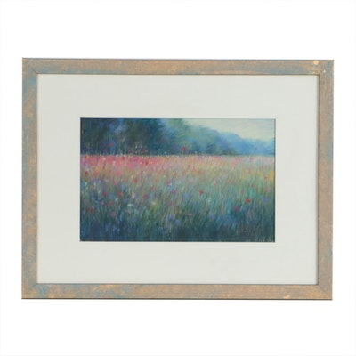 Sandra Rubel Pastel Drawing of Floral Landscape