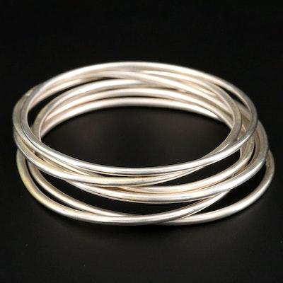 Sterling Silver Semanario Set of (7) Bangle Bracelets