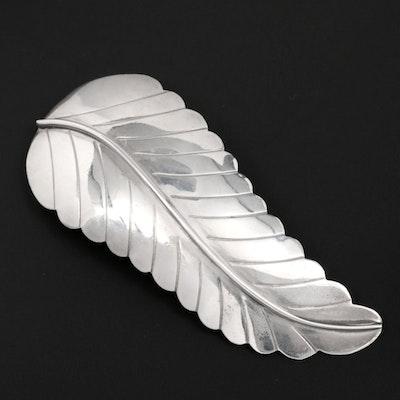 Southwestern Style Sterling Silver Fern Leaf Converter Brooch