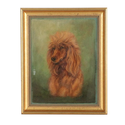 "Dog Portrait Oil Painting ""Bronzie"", Mid 20th Century"