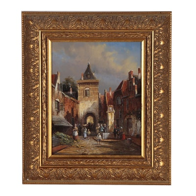 Oil Painting of European Street Scene