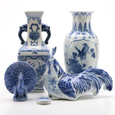 Blue and White Ceramic Vases, Bird Figurines and Seal Paste Box