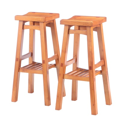 Arts and Crafts Style Stained Pine Counter Height Stools, Contemporary