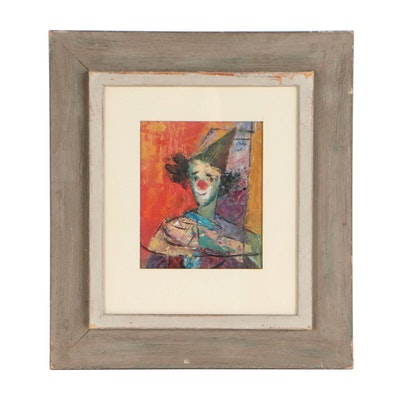 Mixed Media Portrait Painting of Clown