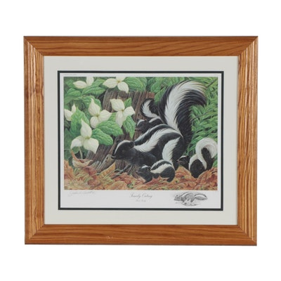 "John A. Ruthven Offset Lithograph ""Family Outing"" with Graphite Remarque"