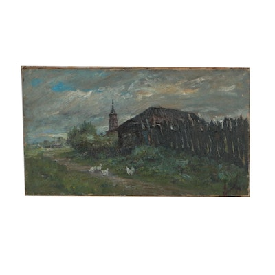 Post-Impressionist Style Oil Painting of Rural Landscape