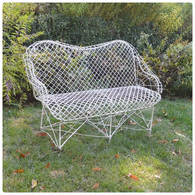 Victorian Outdoor Wire Settee, Antique