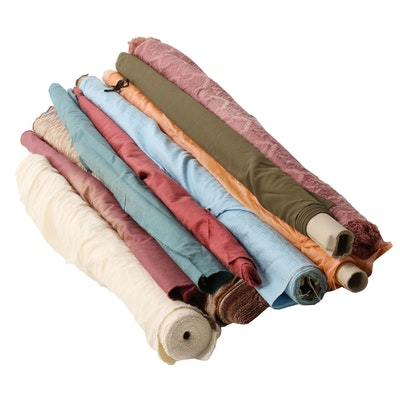 Midweight Woven Fabric Bolts Including Damask, Brocade and Twill