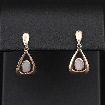 14K Yellow Gold Opal Drop Earrings