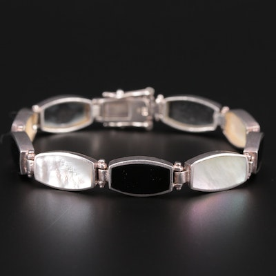 Sterling Silver Black Onyx and Mother of Pearl Hinged Link Bracelet