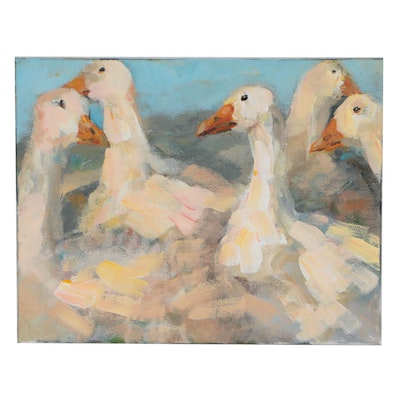 Elle Raines Acrylic Painting of Geese