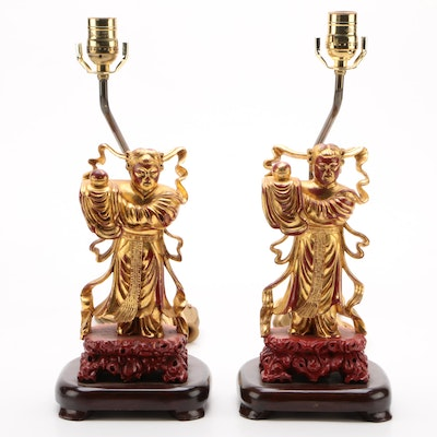 Pair of East Asian Gilt Lacquered Wood Temple Figures with Lamp Bases