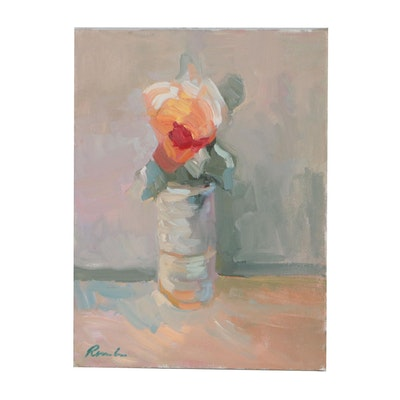 Sally Rosenbaum Vase with Flower Oil Painting