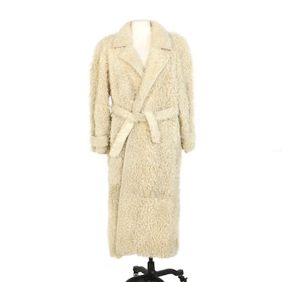 Curly Lamb Fur Belted Coat with Leather Trim Designed by Levinsky of Copenhagen