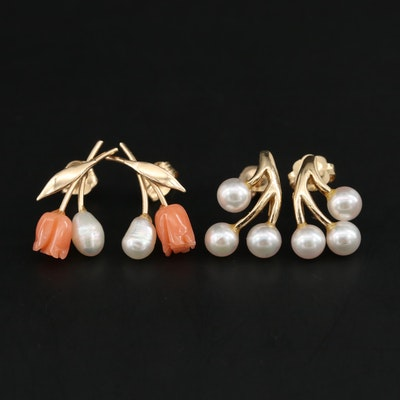 14K Yellow Gold Coral and Cultured Pearl Earrings Including Floral Motif