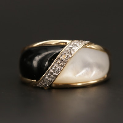 10K Yellow Gold Black Onyx, Mother of Pearl and Diamond Ring