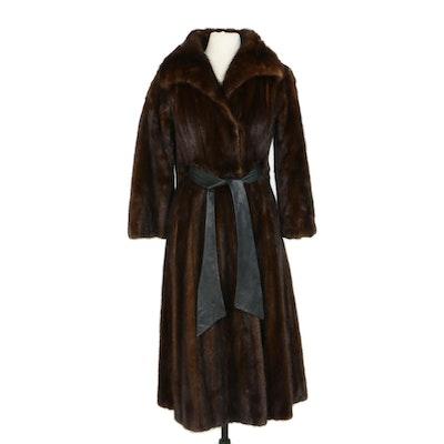 Mahogany Mink Fur Coat with Black Leather Tie Belt, Vintage
