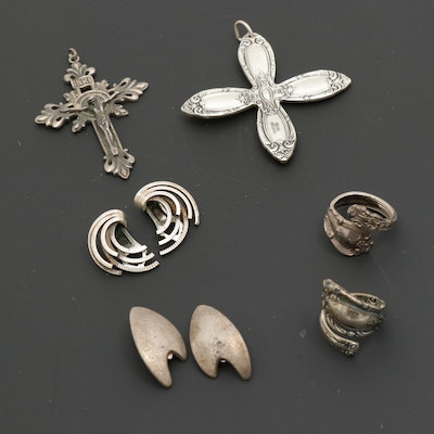 Vintage Sterling Jewelry with Aarre Krogh Earrings and Towle Cross Pendant