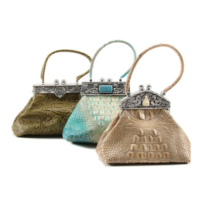 Moulin Rouge Tooled and Croc Embossed Leather Frame Bags with Polished Cabochons