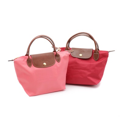 Longchamp Le Pliage Collapsible Leather and Nylon Totes