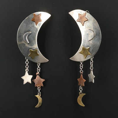 Mexican Sterling Silver Crescent Moon and Star Motif Earrings