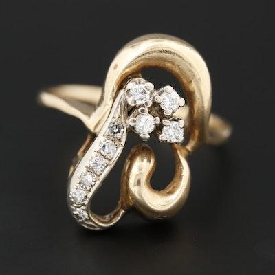 14K Yellow Gold Diamond Asymmetrical Ring